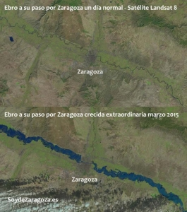 Imágenes del Landsat8 comparando un día normal con los días de la riada del Ebro. Fuente: www.SoyDeZaragoza.es